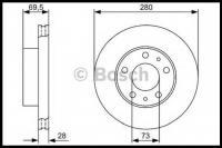 Диск тормозной передний усиленный (28мм) R15 Q16 Фиат Дукато 250 Пежо Боксер 3 Ситроен Джампер III