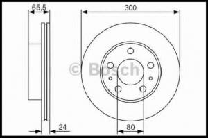 Диск тормозной передний R16 (300х24х80) Фиат Дукато 244/250 Пежо Боксер 3 Ситроен Джампер III