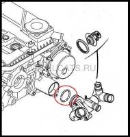 Кольцо уплотнительное корпуса термостата двигателя 2.2 Puma Пежо Боксер 3 Ситроен Джампер III Фиат Дукато 250