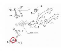 Кольцо уплотнительное трубки (гбц-теплообменник) Фиат Дукато 2.3
