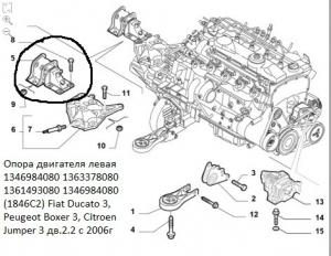 Опора двигателя 2.2 Puma левая Фиат Дукато 250 Пежо Боксер 3 Ситроен Джампер III