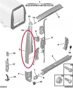 Панель угловая задняя левая Фиат Дукато Пежо Боксер Ситроен Джампер 3/250 H3 (высокий фургон)