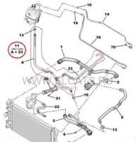 Патрубок шланг системы охлаждения Евро 5 расширительный бачок тройник нижний патрубок краб Пежо Боксер 3 Ситроен Джампер III