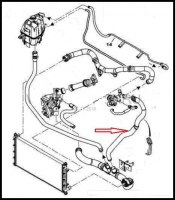 Патрубок системы охлаждения (от термостата к тройнику) Пежо Боксер 3 Ситроен Джампер III Фиат Дукато 250 дв.2.2