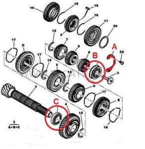 Подшипники вторичного вала (КПП 6ступка) комплект Пежо Боксер 3 Ситроен Джампер III Фиат Дукато 250