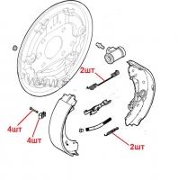 Ремкомплект фиксации задних (барабанных) тормозных колодок Фиат Дукато 244 Елабуга R15