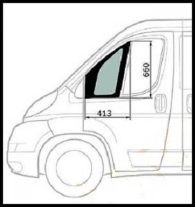 Стекло левой (водительской) двери фиксированное Фиат Дукато 250 Пежо Боксер 3 Ситроен Джампер III