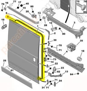 Уплотнитель сдвижной двери Пежо Боксер 3 Ситроен Джампер III Фиат Дукато 250
